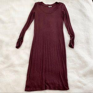 Wine long sleeve jersey dress size small